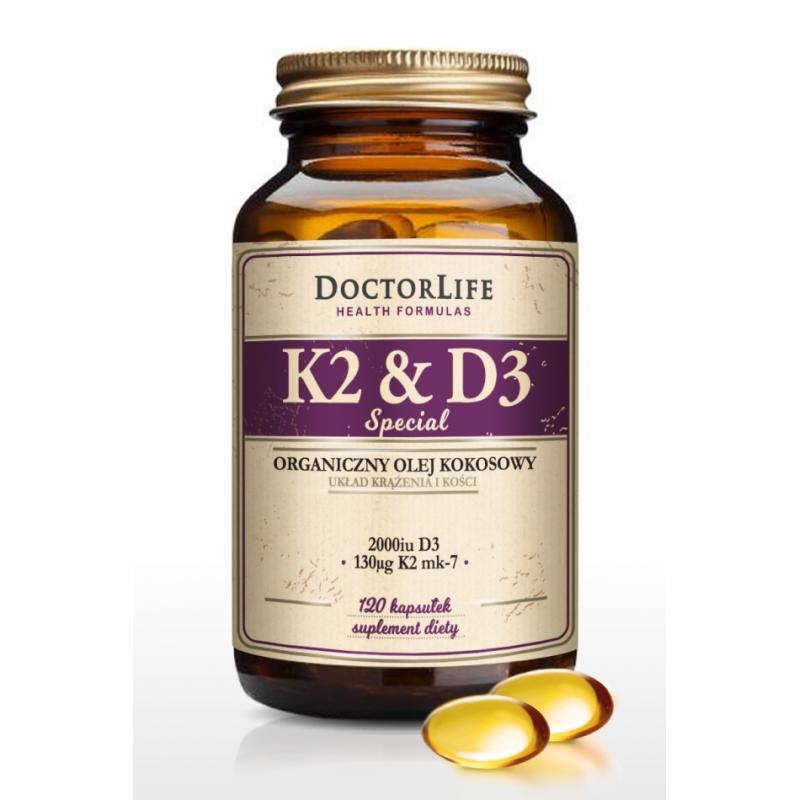 K2 & D3 organiczny olej kokosowy 130ug K2 mk-7 & 2000iu D3 suplement diety 120 kapsułek