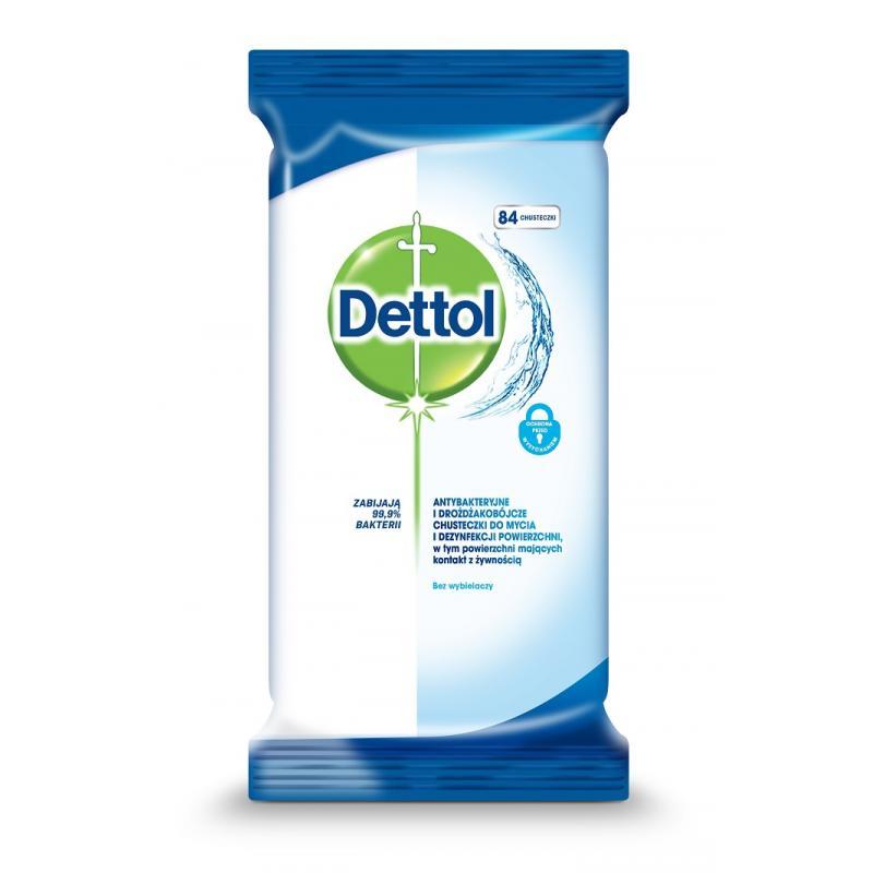 Dettol chusteczki do mycia i dezynfekcji powierzchni antybakteryjne i drożdżakobójcze 84 szt