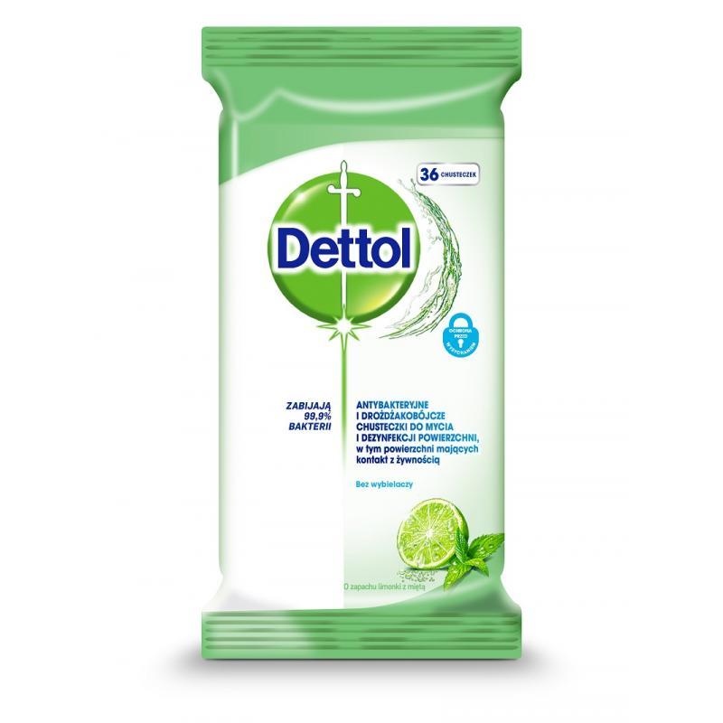 Dettol chusteczki do mycia i dezynfekcji powierzchni antybakteryjne Limonka i Mięta 36 szt