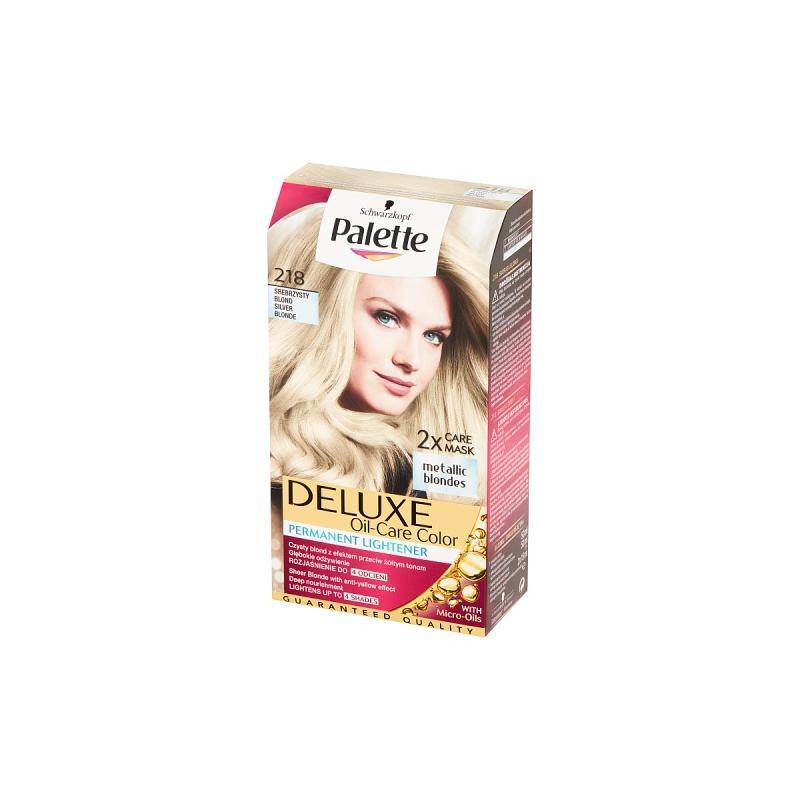 Deluxe Oil-Care Metallic Blondes farba do włosów trwale koloryzująca z mikroolejkami 218 Srebrzysty Blond